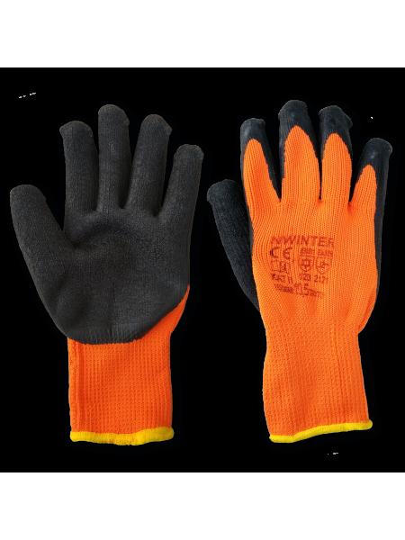 Перчатки утепленные плотные с латексном (рыжие)