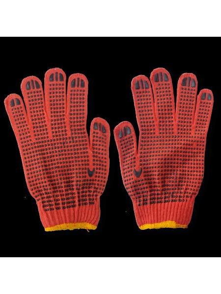 Перчатки ХБ оранжевые с ПВХ точкой/128 МП